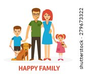 happy family flat vector... | Shutterstock .eps vector #279673322
