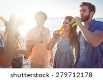 happy hipsters drinking beer at ...   Shutterstock . vector #279712178