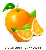 fresh ripe oranges with leaves. ... | Shutterstock .eps vector #279714596