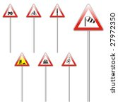 isolated european road signs | Shutterstock .eps vector #27972350