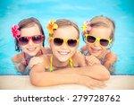 happy children in the swimming... | Shutterstock . vector #279728762