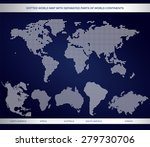 dotted world map with separated ... | Shutterstock .eps vector #279730706