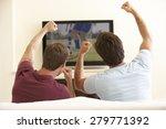 two men watching widescreen tv... | Shutterstock . vector #279771392