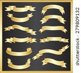 set of ribbons vector   gold | Shutterstock .eps vector #279809132