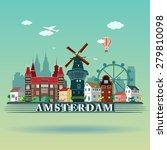 modern amsterdam city skyline... | Shutterstock .eps vector #279810098