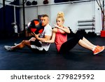 couple training with exercise... | Shutterstock . vector #279829592