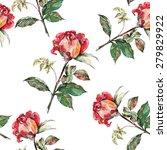 red rose  pattern seamless ... | Shutterstock . vector #279829922