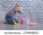 apartment cleaning and washing... | Shutterstock . vector #279848852