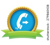gold outgoing call logo on a...