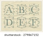 vintage calligraphic letters in ...