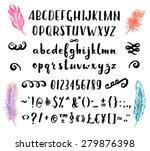 hand drawn brush pen font for... | Shutterstock .eps vector #279876398