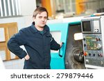 industrial worker near cnc... | Shutterstock . vector #279879446