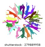 people jumping together we... | Shutterstock .eps vector #279889958