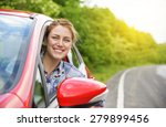 happy smiling girl in a red car.... | Shutterstock . vector #279899456