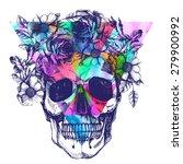Human Skull And Flower Wreath....