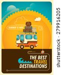 traveling poster with van.... | Shutterstock .eps vector #279916205