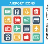 airport icons for tourism | Shutterstock .eps vector #279942512
