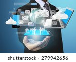 technology in the hands of... | Shutterstock . vector #279942656
