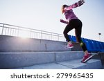 girl runs upstairs to a sunset. ... | Shutterstock . vector #279965435