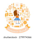 summer break set with a girl... | Shutterstock .eps vector #279974366