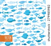 watercolor sea blue fish... | Shutterstock .eps vector #279985982