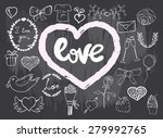 romantic doodle icon set. hand... | Shutterstock .eps vector #279992765