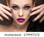 beautiful girl in leather... | Shutterstock . vector #279997172