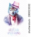 cute fashion hipster animals  ... | Shutterstock .eps vector #280023332