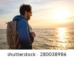young man wearing a backpack...   Shutterstock . vector #280038986