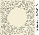 doodle food icons | Shutterstock . vector #280040156