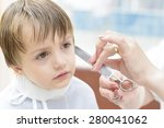 cute innocent boy at barbershop | Shutterstock . vector #280041062