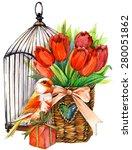 Bird  Flower And Birdcage...