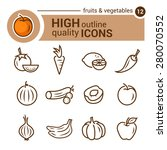 Line Flat Icons Of Food And...