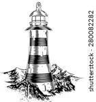 A Lighthouse On Top Of A Rocky...