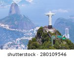 Stock photo aerial view of rio de janeiro with christ redeemer and corcovado mountain 280109546
