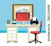 office design over blue... | Shutterstock .eps vector #280124498