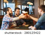 Stock photo people men leisure friendship and celebration concept happy male friends drinking beer and 280125422