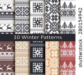 set of ten winter patterns | Shutterstock .eps vector #280154942