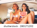 surfer girls beach lifestyle ... | Shutterstock . vector #280171202