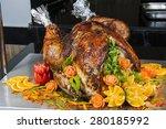 closeup of roasted turkey on... | Shutterstock . vector #280185992