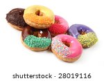 Six iced donuts with sprinkles, isolated on white. - stock photo