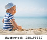 baby boy with a hat sitting on ... | Shutterstock . vector #280199882