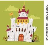 cute cartoon castle with a... | Shutterstock .eps vector #280216802