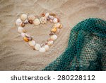 Sea Shells With Fishing Net On...