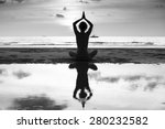 Silhouette Of Yoga Woman On Se...