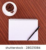 pen notebook  and coffee on... | Shutterstock . vector #28025086