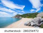 blue sky beach rocks forest ... | Shutterstock . vector #280256972