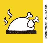 roast chicken doodle drawing | Shutterstock . vector #280265585