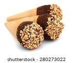 Ice Cream Cones Close Up On...