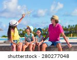 family vacation. airplane in... | Shutterstock . vector #280277048